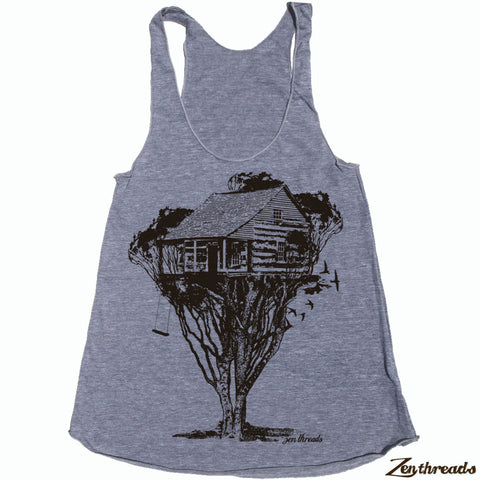 Women's TREE HOUSE Cabin -hand screen printed Tri-Blend Racerback Tank Top xs s m l xl xxl  (+Colors)