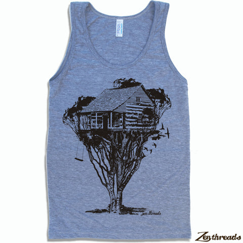 Unisex TREEHOUSE Tri Blend Tank Top -hand screen printed xs s m l xl xxl (+ Colors)