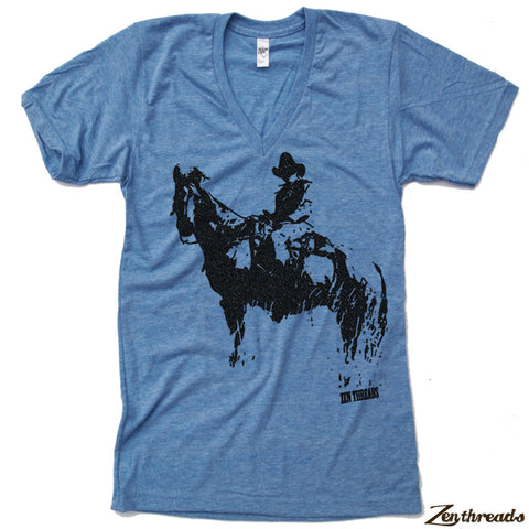 Unisex V-Neck COWBOY Tri Blend  T Shirt  XS  S  M  L XXL (2 Color Options)