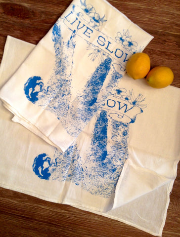 Towel Set of 2 - LIVE SLOW Sloth - Multi-Purpose Flour Sack Bar Towels - Renewable Natural Cotton - Ready to Ship - Zen Threads
