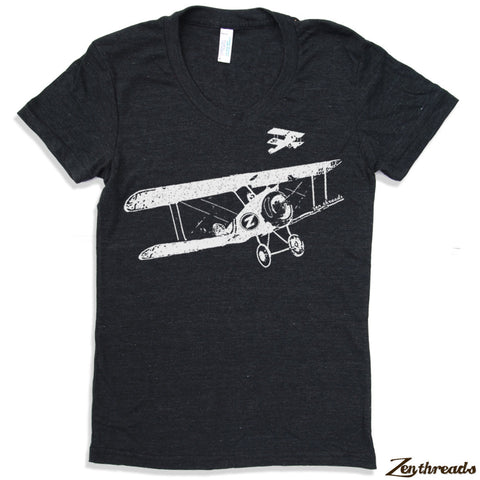 Women's Vintage PLANES t shirt -hand screen printed  s m l xl xxl (+ Colors)