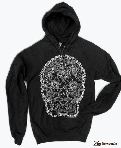 Unisex - Day of the DEAD 2  - Fleece PULLOVER Hoody  - screen printed - 2 Color Options - Zen Threads