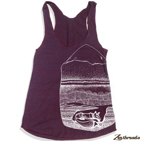 Women's FOXHOLE -hand screen printed Tri-Blend Racerback Tank Top xs s m l xl xxl  (+Colors)