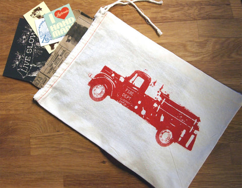 "Gift Bag/8x11"" FIRE TRUCK - Hand Printed Drawstring Reusable Cotton Bag - Zen Threads"