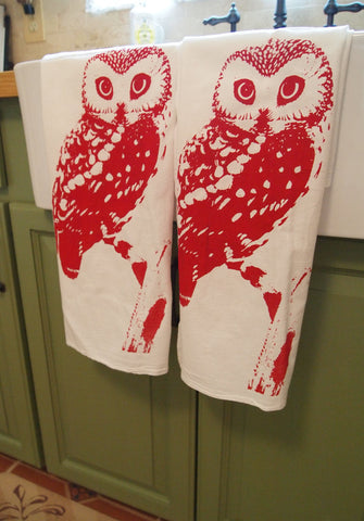 Set of 2 Towels -  OWL Flour Sack Kitchen  Dish - Renewable Natural Cotton (Red or Brown ink Options) - Zen Threads