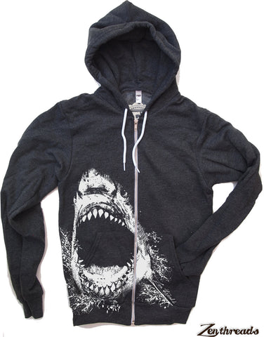 Unisex SHARK Zip Hoody (+ Color Options) XS S M L XL 2XL Hand Screen Printed - Zen Threads