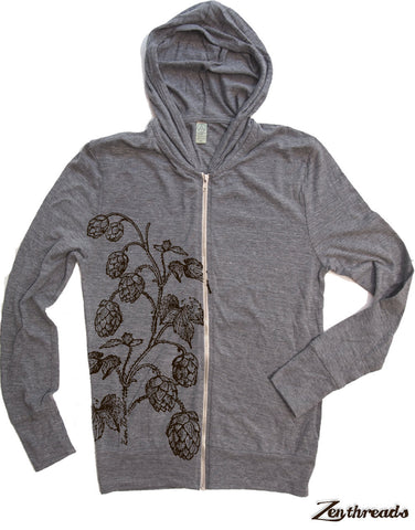 Unisex HOPS Eco Zip Lightweight Hoody -  xs s m l xl (+ Colors) - Zen Threads