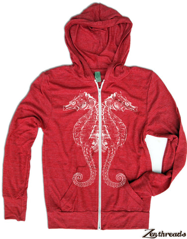 Unisex SEAHORSE Eco Zip Lightweight Hoody -  xs s m l xl (+ Colors) - Zen Threads