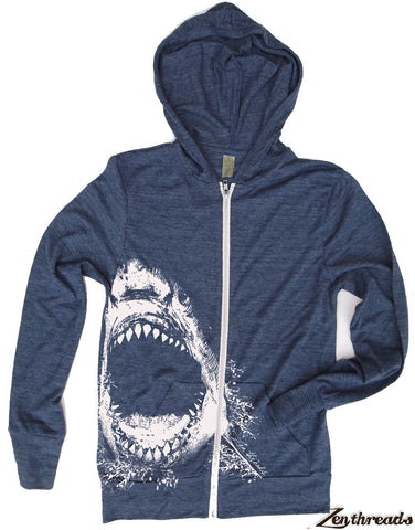 Unisex SHARK Eco Zip Lightweight Hoody -  xs s m l xl (+ Colors) - Zen Threads