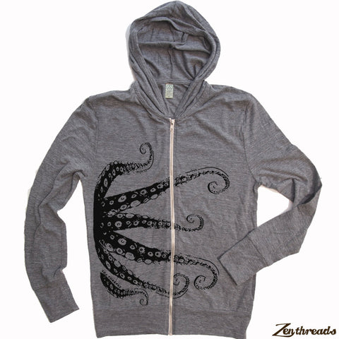 Unisex OCTOPUS Eco Zip Lightweight Hoody -  xs s m l xl (+ Colors) - Zen Threads