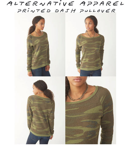 Women's MOOSE (in Snow Shoes) Camo Fleece Pullover - Alternative Apparel (Limited Print Run)