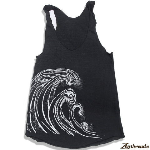 Women's WAVE -hand screen printed Tri-Blend Racerback Tank Top XS S M L XL XXL  (+Colors)