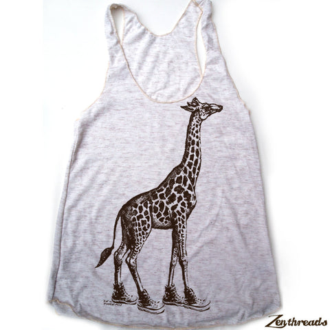 Women's GIRAFFE (in High Tops) -hand screen printed Tri-Blend Racerback Tank Top xs s m l xl xxl  (+Colors)