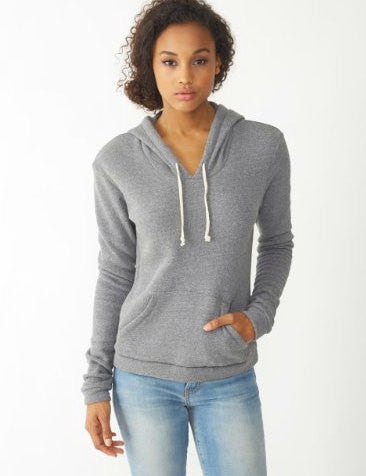 Women's WHALES Alternative Apparel Fleece Eco-Grey Pullover Hoody S M L (limited print run)