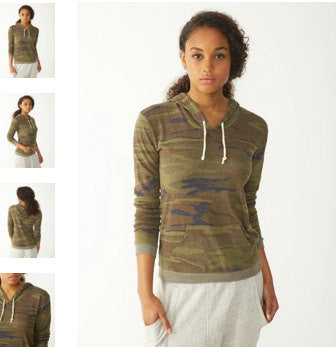 Women's DEAD 2 Camo Alternative Apparel Lightweight Eco Hoody S M L XL  (limited print run)