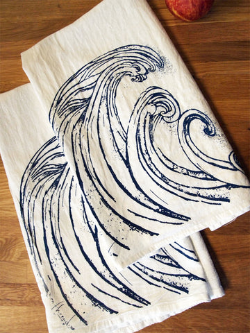 Set of 2 Towels - WAVE - Multi-Purpose Flour Sack Bar Towels - Renewable Natural Cotton - Zen Threads