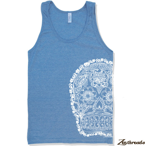 Unisex Day Of The DEAD 2 Tri Blend Tank -hand screen printed xs s m l xl xxl (+ Colors)