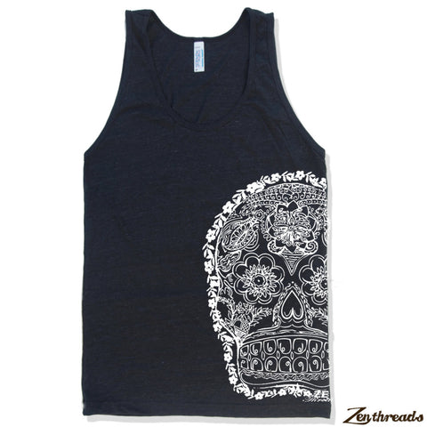 Unisex Day Of The DEAD 2 Tri Blend Tank -hand screen printed xs s m l xl xxl (+ Colors) - Zen Threads