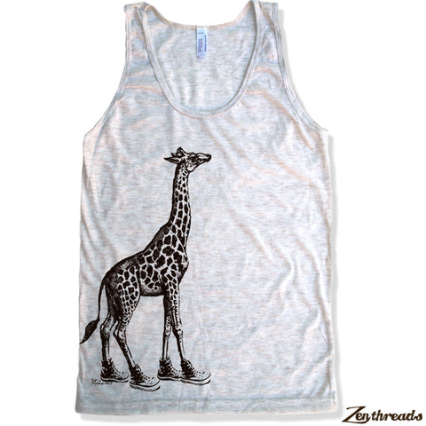 Unisex GIRAFFE (in High Tops) Tri Blend Tank Top -hand screen printed xs s m l xl xxl (+ Colors) - Zen Threads