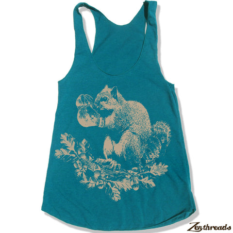 Women's Boxing SQUIRREL -hand screen printed Tri-Blend Racerback Tank Top xs s m l xl xxl  (+Colors)
