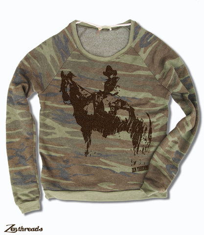 Women's COWBOY Camo Fleece Pullover - Alternative Apparel (Limited Print Run)