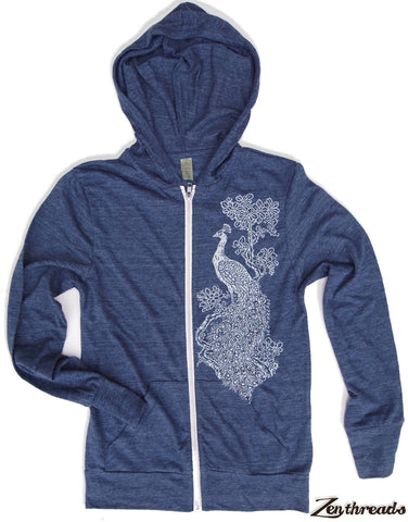 Unisex PEACOCK Triblend Zip Lightweight Hoody -  xs s m l xl (+ Colors) - Zen Threads