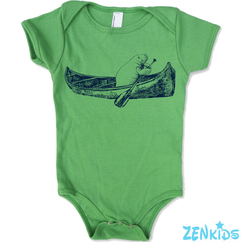 Baby One-Piece MANATEE (in a Canoe) Eco screen printed - Zen Threads