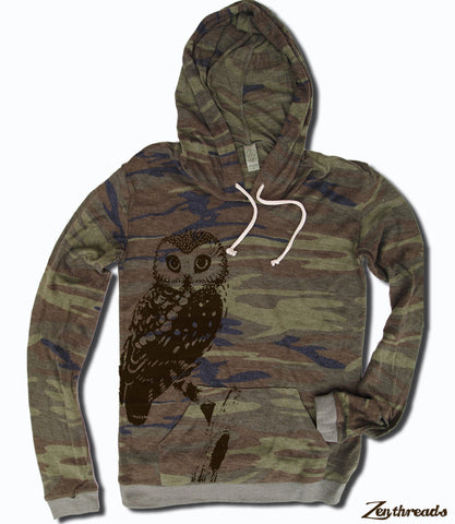 Women's OWL Camo Alternative Apparel Lightweight Eco Hoody S M L XL  (limited print run)