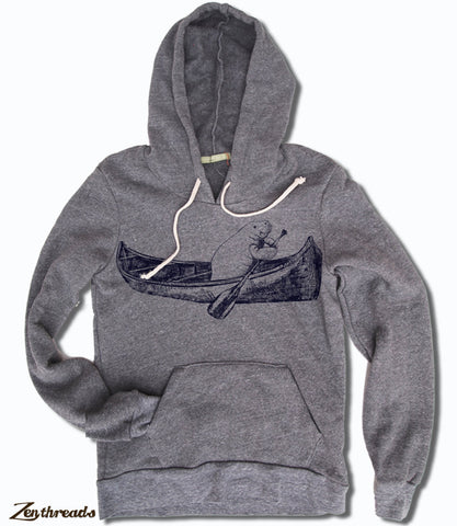 Women's MANATEE (in a canoe) Alternative Apparel Fleece Eco-Grey Pullover Hoody S M L (limited print run)