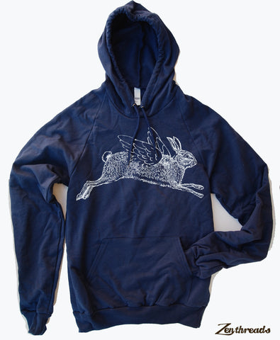 Unisex RABBIT Fleece PULLOVER Hoody - screen printed + Color Options
