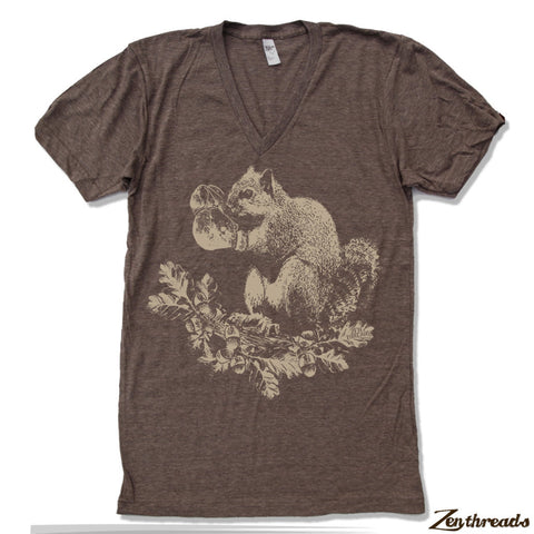 Unisex V-Neck SQUIRREL  T Shirt  xs s m l xl xxl (+ Color Options)