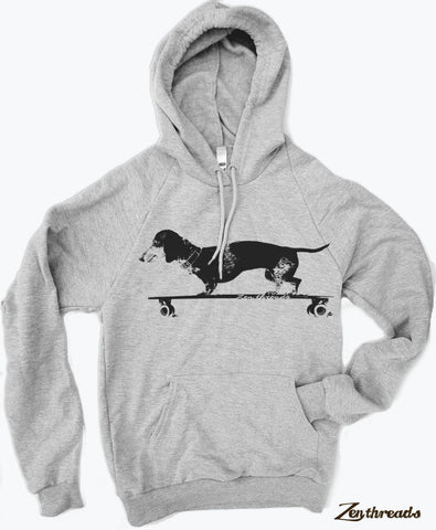 Unisex Longboard DACHSHUND - Fleece Pullover Hoody Sweatshirt  (+ Color Options) - Zen Threads