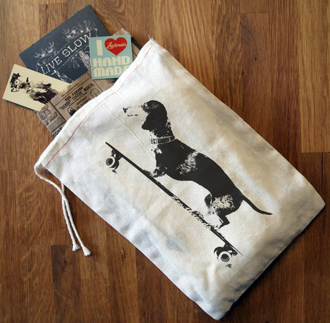 "GIFT BAG / 8x11"" Longboard DACHSHUND - Zen Threads"