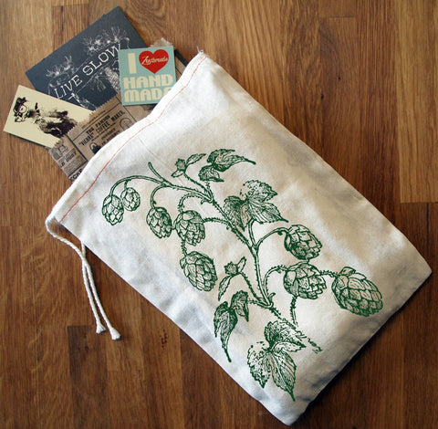"GIFT BAG/8x11"" HOPS - Hand Printed Drawstring Reusable Cotton Bag - Zen Threads"