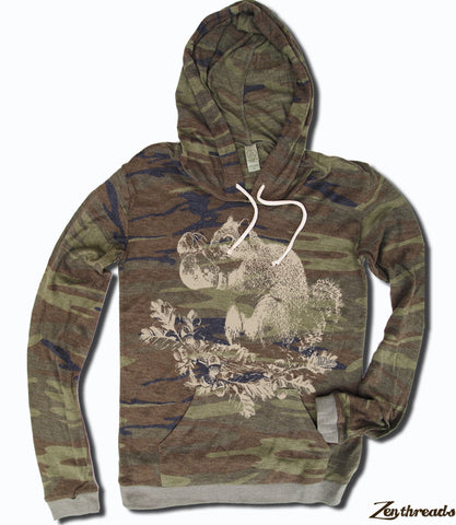 Women's Boxing SQUIRREL Alternative Apparel Lightweight Camo Eco Hoody S M L XL  (limited print run)