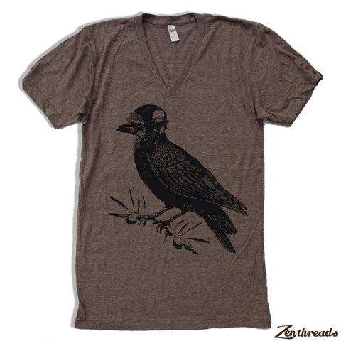 Unisex V-Neck Crow RAVEN Triblend Fine Jersey T Shirt  (All Sizes + Colors)