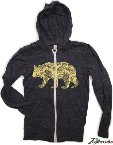 Unisex California Bear Triblend Heather Hoody - Alternative apparel XS S M L XL (6 Colors)