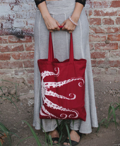 OCTOPUS Eco-Friendly Market Tote Bag - Hand Screen printed - Zen Threads