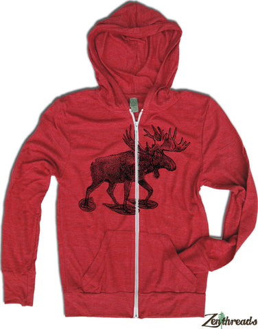 Unisex MOOSE (in Snow Shoes) Triblend Zip Lightweight Hoody -  xs s m l xl (+ Colors) - Zen Threads