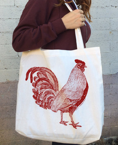 Urban ROOSTER Cotton TOTE - Hand Screen Printed Bag - made in California