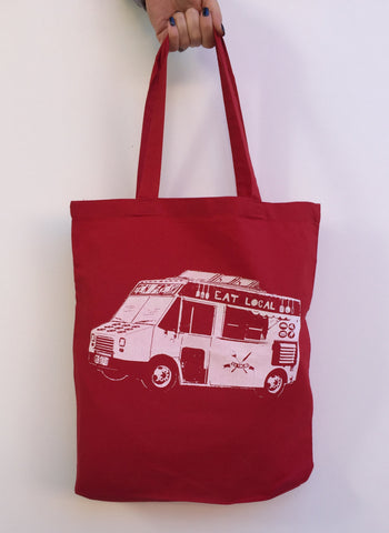 Eat Local FOOD TRUCK Eco-Friendly Market Tote Bag - Hand Screen printed