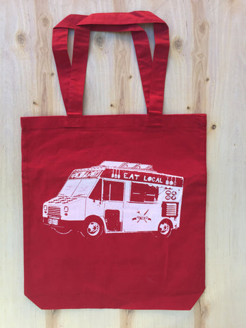 Eat Local FOOD TRUCK Eco-Friendly Market Tote Bag - Hand Screen printed - Zen Threads