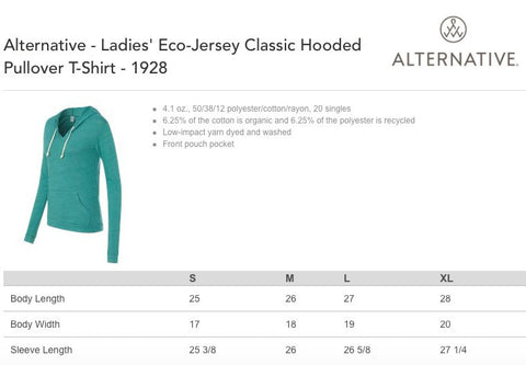 Women's ROOSTER - Alternative Apparel Lightweight Eco Hoody S M L XL  (limited print run)