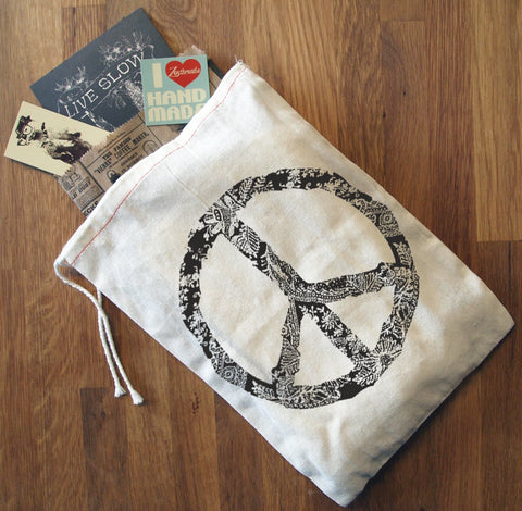 "PEACE Gift Bag/8x11""  - Hand Printed Drawstring Reusable Cotton"