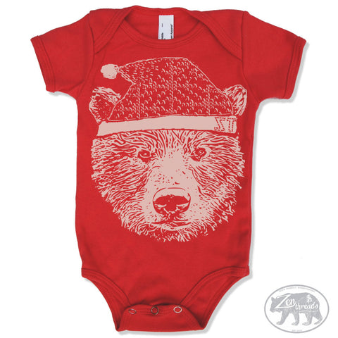HOLIDAY BEAR Baby One-Piece Eco screen printed - Zen Threads