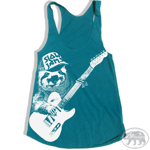 Women's SLOTH 3 (Slow Jams)  -hand screen printed Tri-Blend Racerback Tank Top xs s m l xl xxl  (+Colors)