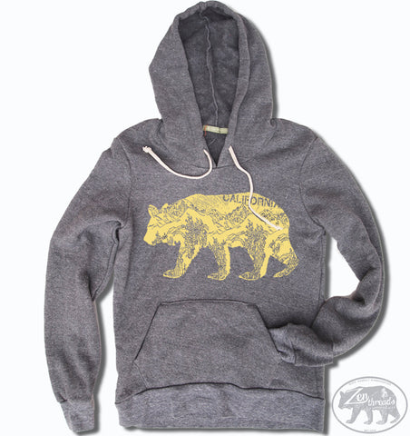 Womens California Bear Alternative Apparel Fleece Eco-Grey Pullover Hoody S M L (limited print run)