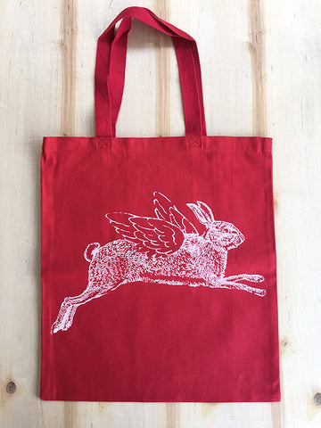 Flying RABBIT - Eco-Friendly Market Tote Bag - Hand Screen printed - Zen Threads