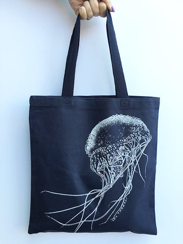 JELLYFISH - Eco-Friendly Market Tote Bag - Hand Screen printed - Zen Threads