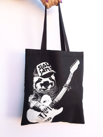 SLOTH Slow Jams - Eco-Friendly Market Tote Bag - Hand Screen printed - Zen Threads